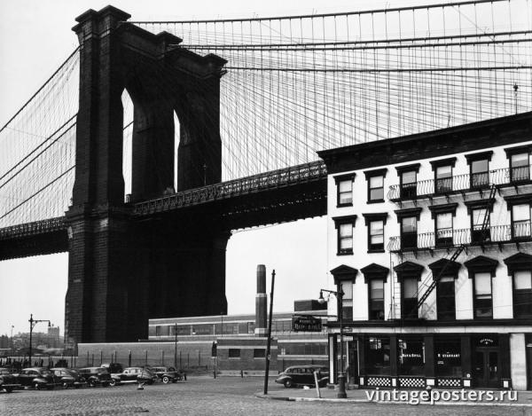 """Винтажный Ретро Постер """"Бар & гриль «Franklin» под Бруклинским мостом"""" США 1944 для интерьера купить"""