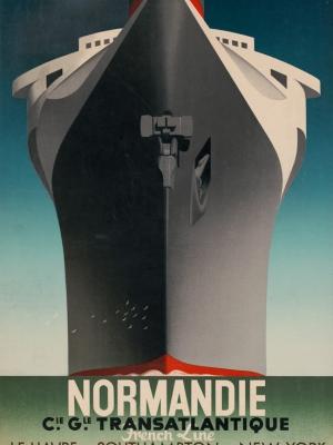 """Купить для интерьера на стену Постер """"Лайнер «Нормандия». Трансатлантическая линия"""" Франция 1935"""