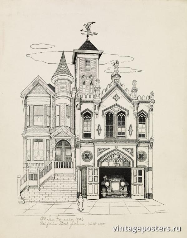 """Купить для интерьера на стену Постер """"Старый Сан-Франциско: здание 1885 года"""" США 1946"""