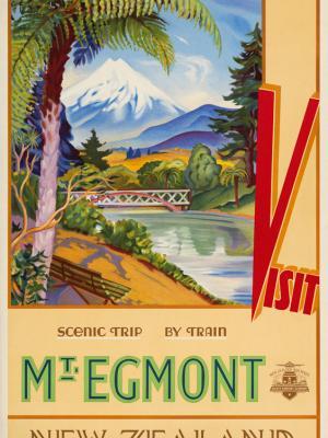 """Винтажный Ретро Постер """"Посетите гору Эгмонт"""" Новая Зеландия 1930 для интерьера купить"""
