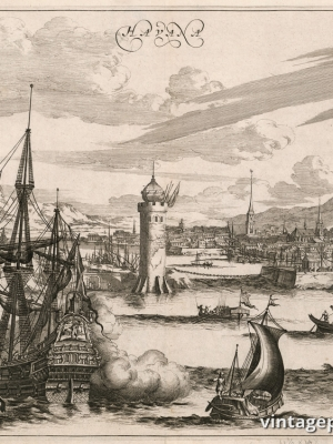 """Купить для интерьера на стену Постер """"Вид на вход в гавань Гаваны"""" Нидерланды 1671"""