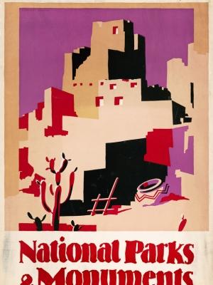 """Купить для интерьера на стену Постер """"Национальные парки и монументы округа Пуэбло"""" США 1930"""