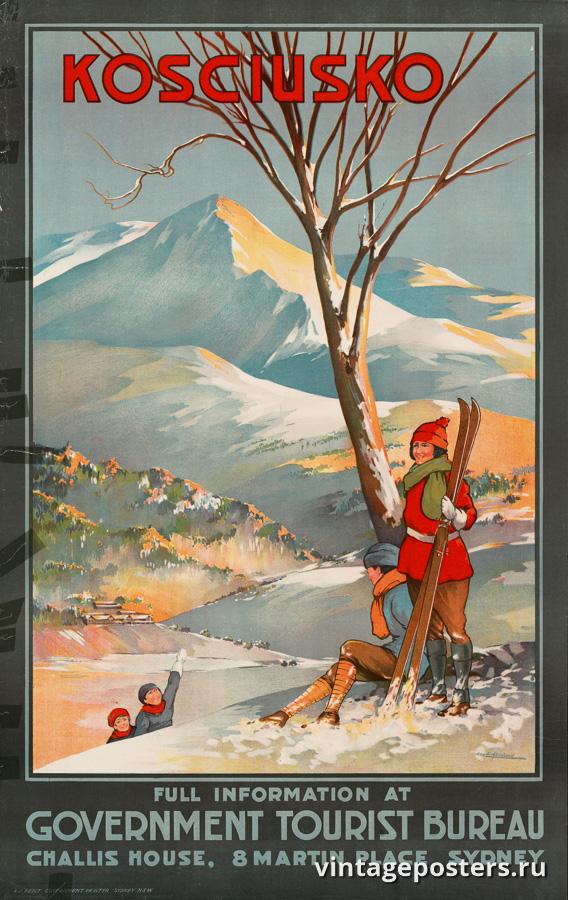 """Винтажный Ретро Постер """"Гора Косцюшко"""" Австралия 1930 для интерьера купить"""