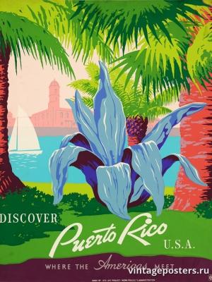 """Купить для интерьера на стену Постер """"Откройте для себя Пуэрто-Рико"""" США 1937"""