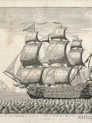 """Купить для интерьера на стену Постер """"Головной линейный корабль под флагом вице-адмирала"""" Португалия 1600гг"""