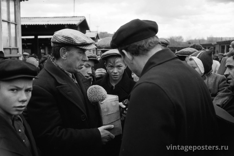 Фото старой Москвы 1950 годов: Калитниковский птичий рынок. 1956г №11