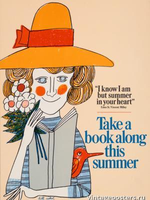 """Винтажный Ретро Постер """"Возьмите книгу этим летом"""" США 1966 для интерьера купить"""
