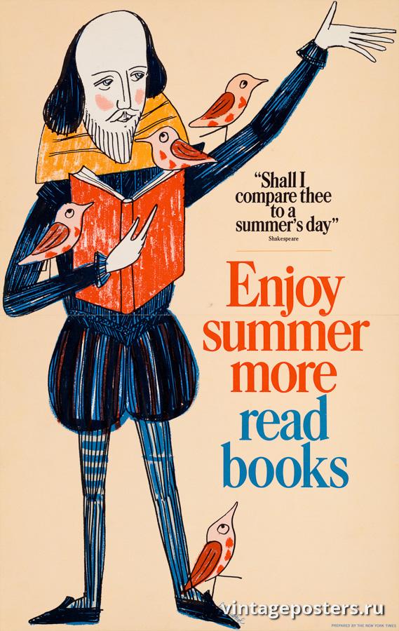 """Винтажный Ретро Постер """"Наслаждайтесь летом больше, читайте книги"""" США 1966 для интерьера купить"""