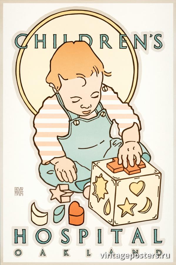 """Винтажный Ретро Постер """"Детская больница Окленд"""" США 1983 для интерьера купить"""