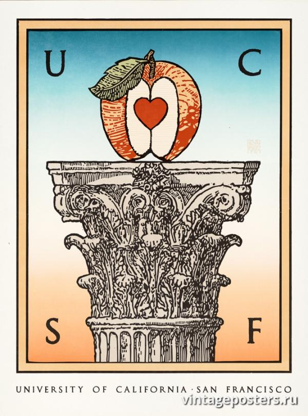"""Винтажный Ретро Постер """"UCSF — Калифорнийский университет в Сан-Франциско"""" США 1979 для интерьера купить"""