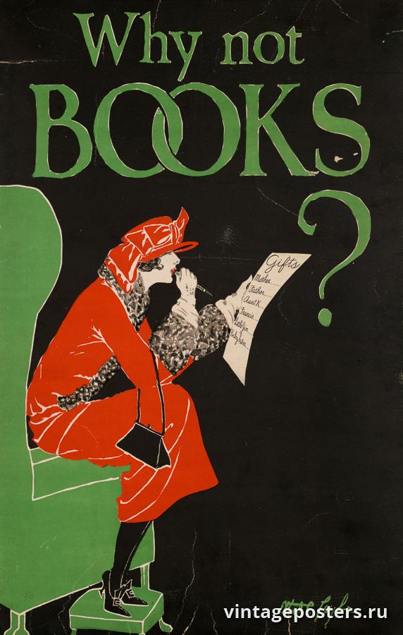 """Винтажный Ретро Постер """"Почему-бы не книгу?"""" США 1925 для интерьера купить"""