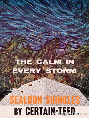 """Винтажный Ретро Постер """"Спокойствие при любой буре. Черепица «Sealdon»"""" США 1962 для интерьера купить"""