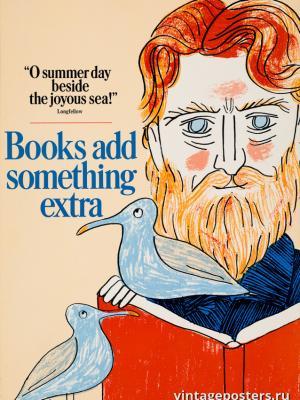 """Винтажный Ретро Постер """"Книги несут что-то новое"""" США 1966 для интерьера купить"""