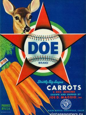 """Винтажный Ретро Постер """"Самая крупная морковь во всей лиге"""" США 1940 для интерьера купить"""