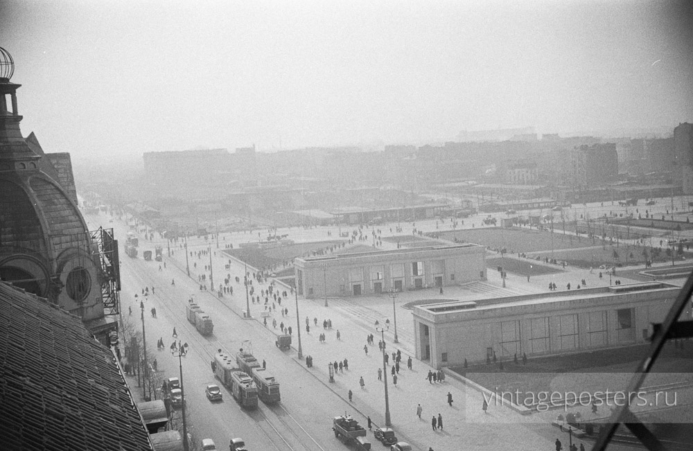 Вид сверху на площадь Парадов. Варшава, Польша. 1956г.
