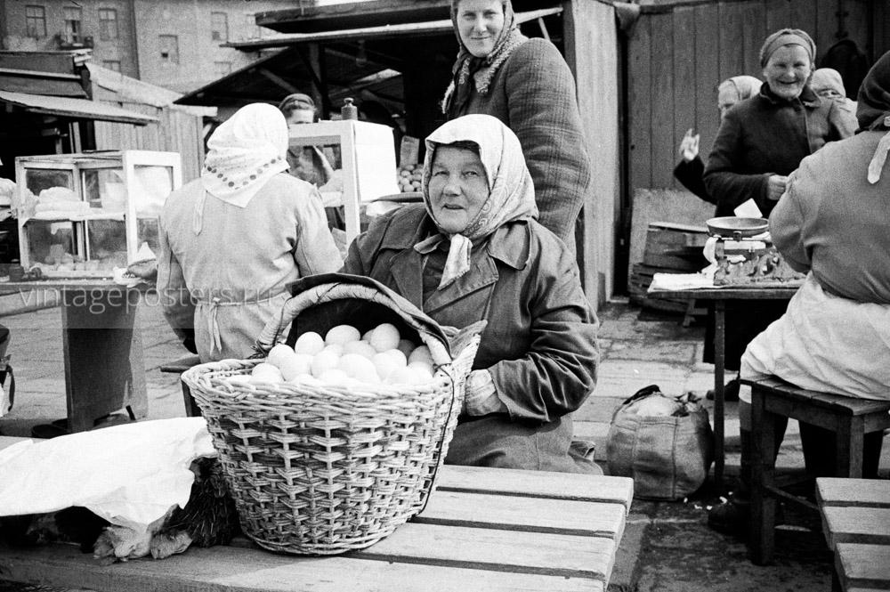 Продуктовый рынок. Птичьи ряды. Варшава, Польша. 1956г. Фото №50