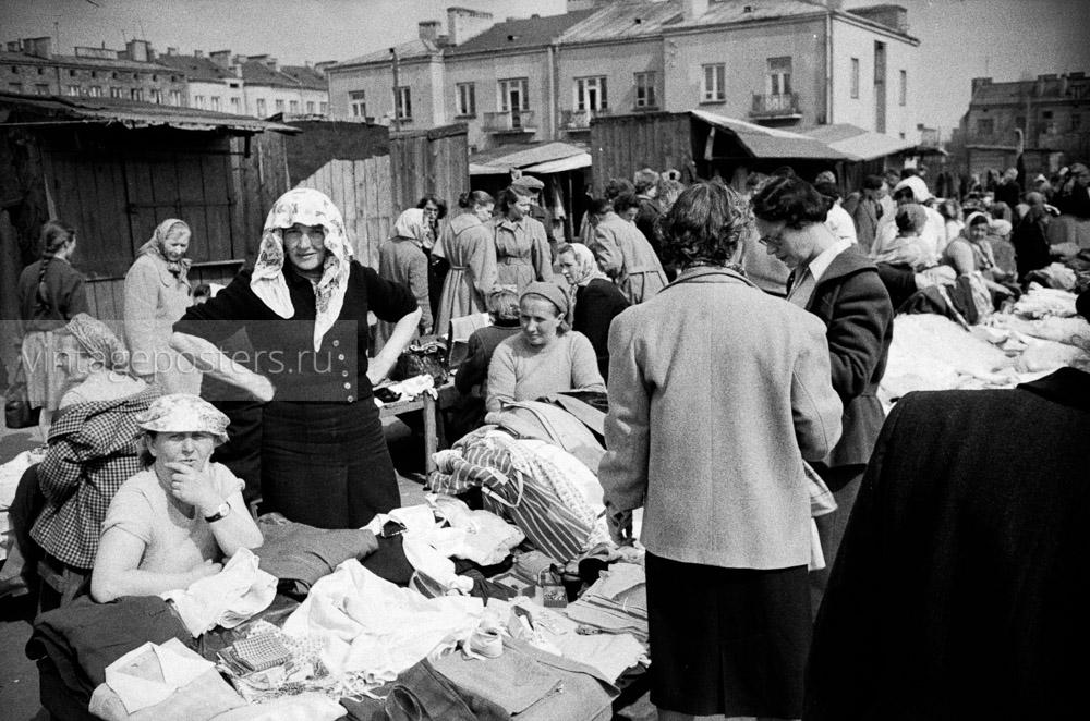 Вещевой рынок на окраине. Варшава, Польша. 1956г. Фото №56