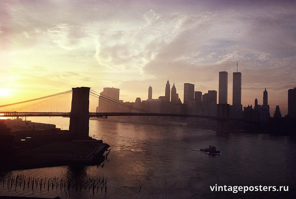 Вид на Нижний Манхэттен с Манхэттенского моста, ноябрь 1979г.