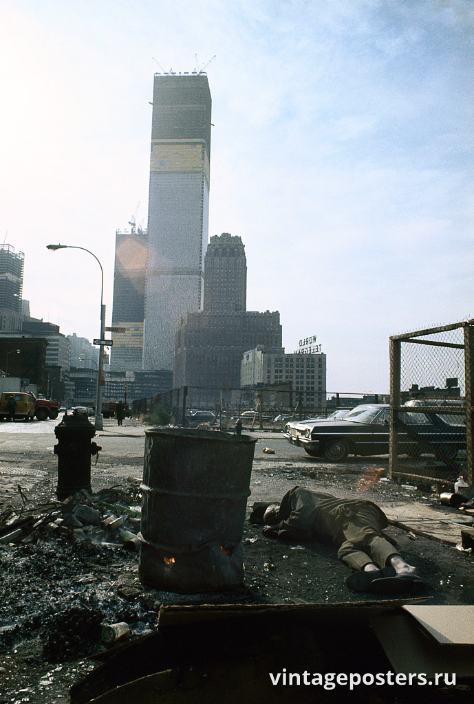 Вид на Всемирный торговый центр, строящийся на Дуэйн-стрит, Манхэттен, 1970г.