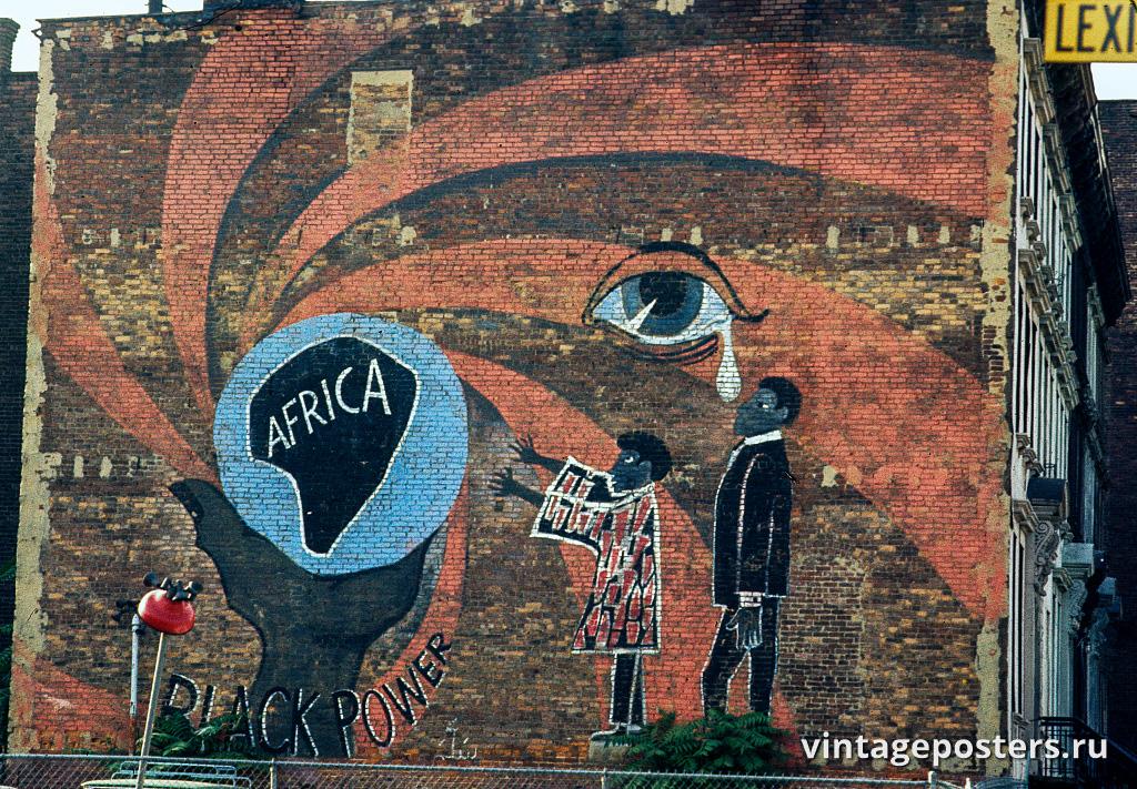 """Граффити """"Black Power"""" на стене дома по Лексингтон Авеню, Гарлем, 1970г."""
