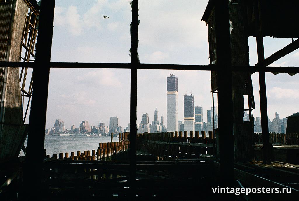 Вид с заброшенного пирса, Джерси-Сити, Нью-Джерси, 1970г.