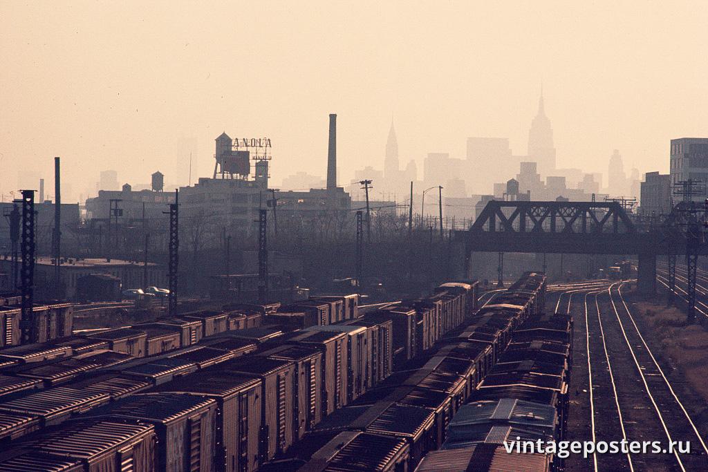 Товарная станция, вид юг от Хантс-Пойнт, Бронкс, 1970г.