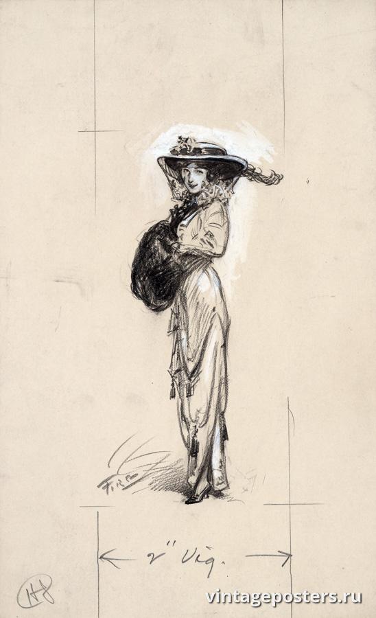 """Винтажный Ретро Постер """"Девушка в шляпе"""" США 1914 для интерьера купить"""