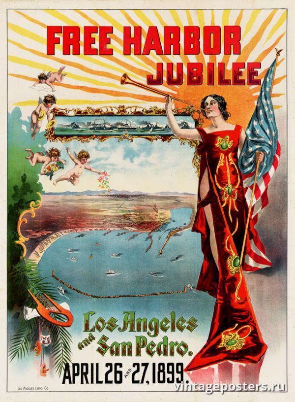 """Винтажный Ретро Постер """"Юбилей свободной гавани, Лос-Анджелес и Сан-Педро"""" США 1899 для интерьера купить"""