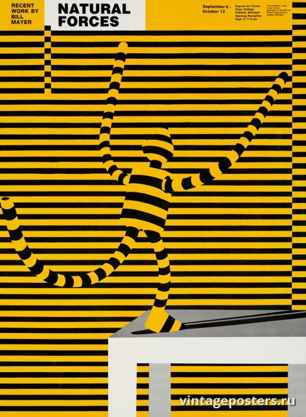 """Винтажный Ретро Постер """"«Сила Природы» — новая выставка Уильяма Майера"""" США 1980 для интерьера купить"""