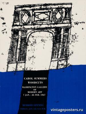 """Винтажный Ретро Постер """"Кэрол Саммерс — выставка гравюр на дереве"""" США 1967 для интерьера купить"""