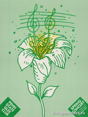 """Винтажный Ретро Постер """"Весенний концерт Певческого клуба Университета Пенсильвании"""" США 1980 для интерьера купить"""