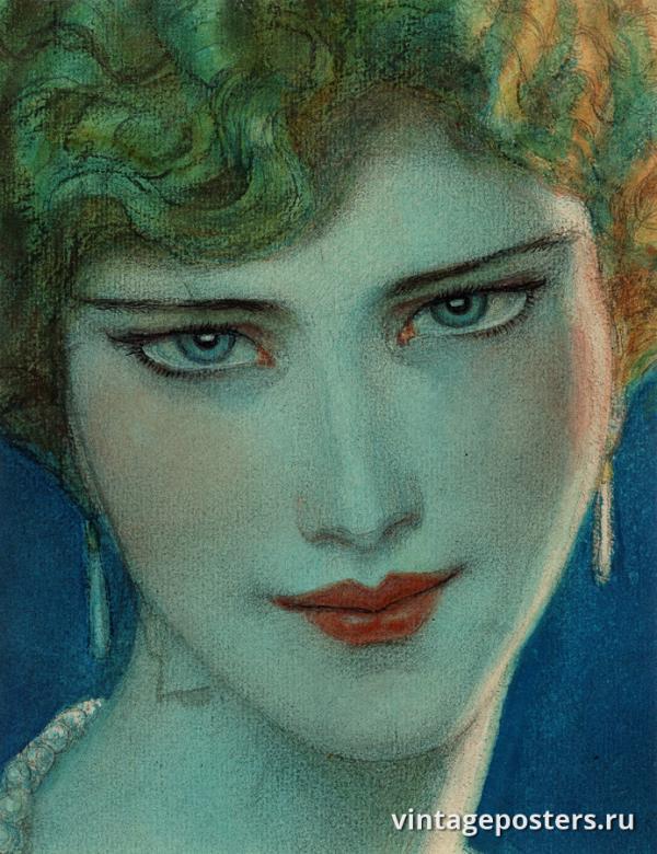 """Винтажный Ретро Постер """"Блондинка с серьгами"""" США 1923 для интерьера купить"""