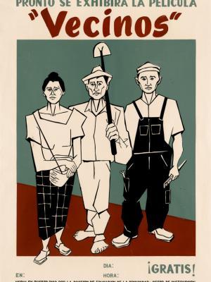 """Винтажный Ретро Постер """"к/ф «Соседи»"""" Пуэрто-Рико 1950 для интерьера купить"""