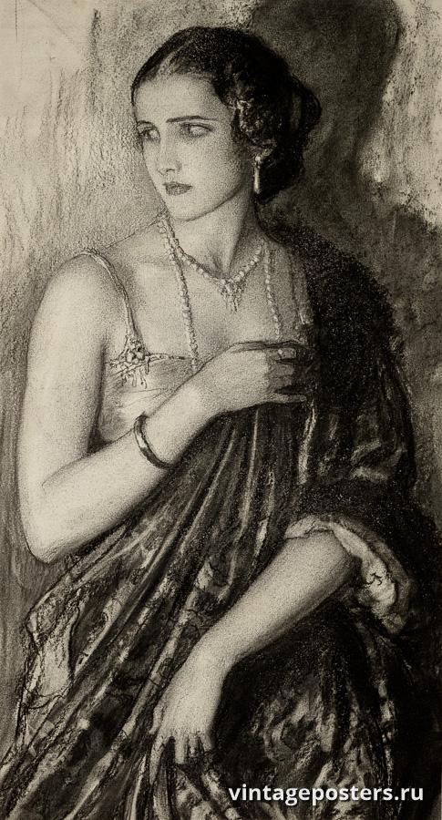 """Винтажный Ретро Постер """"Портрет женщины в дверях"""" США 1918 для интерьера купить"""