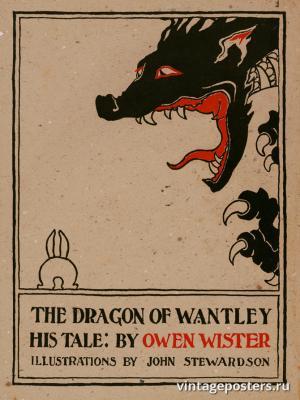 """Винтажный Ретро Постер """"Новелла Оуэна Уистера «Дракон из Мэтсли: его рассказ»"""" США 1898 для интерьера купить"""
