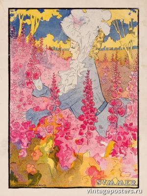 """Винтажный Ретро Постер """"Время года «Лето»"""" США 1907 для интерьера купить"""