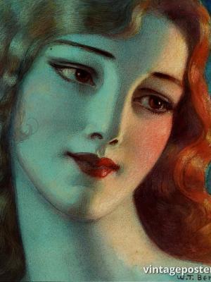 """Винтажный Ретро Постер """"Девушка с длинными светлыми волосами"""" США 1923 для интерьера купить"""