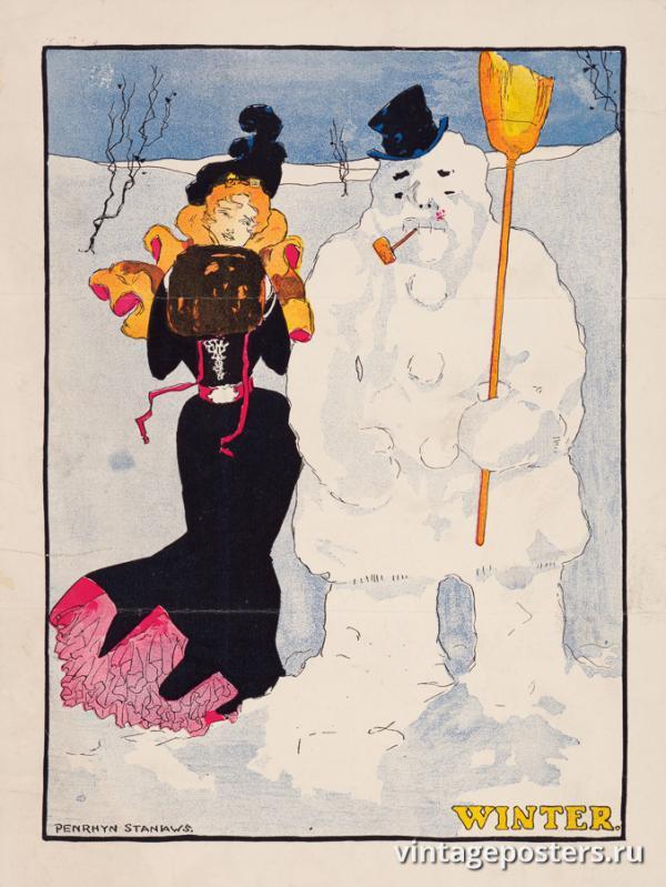 """Винтажный Ретро Постер """"Время года «Зима»"""" США 1907 для интерьера купить"""