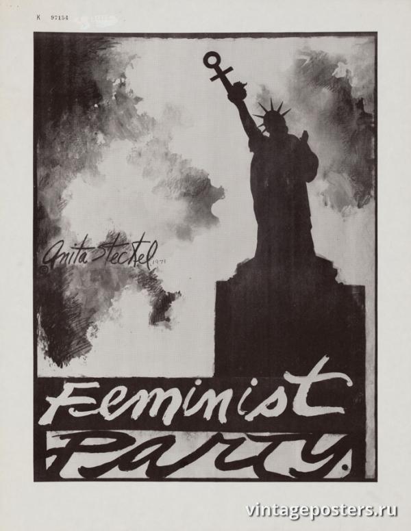 """Винтажный Ретро Постер """"Партия феминисток"""" США 1971 для интерьера купить"""
