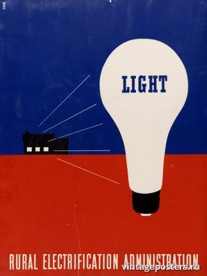 """Винтажный Ретро Постер """"Свет. Администрация сельской электрификации"""" США 1930 для интерьера купить"""