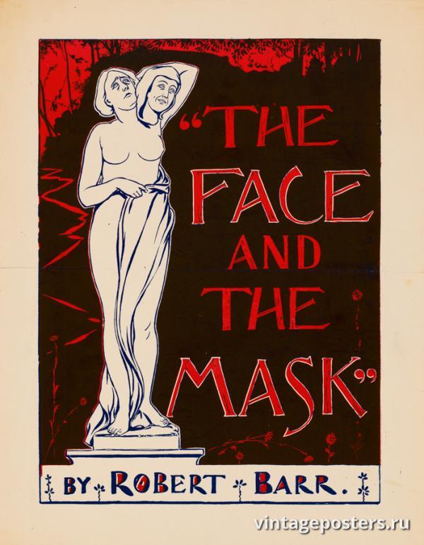"""Винтажный Ретро Постер """"«Лицо и маска» Роберта Барра"""" США 1895 для интерьера купить"""