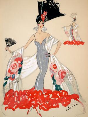 """Винтажный Ретро Постер """"Девушка в серебряном платье и веером"""" США 1923 для интерьера купить"""