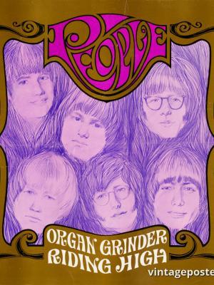 """Винтажный Ретро Постер """"Первая пластинка рок-группы «People!»"""" США 1967 для интерьера купить"""