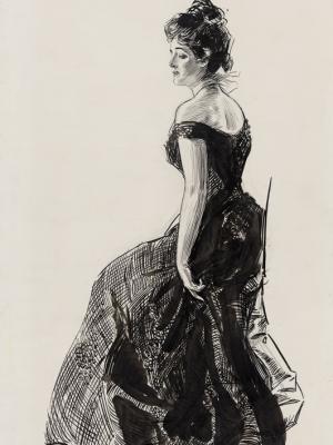 """Винтажный Ретро Постер """"Женщина в черном вечернем платье"""" США 1901 для интерьера купить"""
