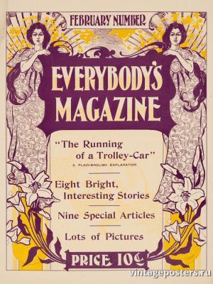 """Винтажный Ретро Постер """"Журнал «Everybody's», Февральский выпуск"""" США 1900 для интерьера купить"""