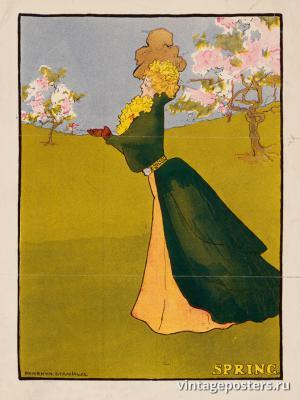 """Винтажный Ретро Постер """"Время года «Весна»"""" США 1907 для интерьера купить"""