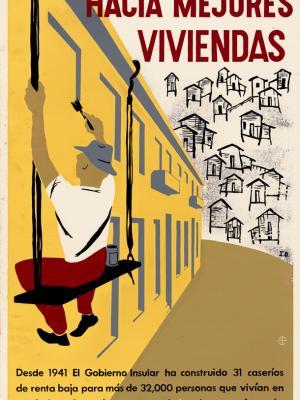 """Винтажный Ретро Постер """"На пути к лучшему жилью"""" Пуэрто-Рико 1946 для интерьера купить"""