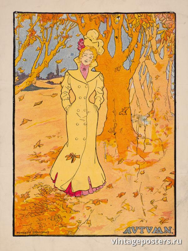 """Винтажный Ретро Постер """"Время года «Осень»"""" США 1907 для интерьера купить"""