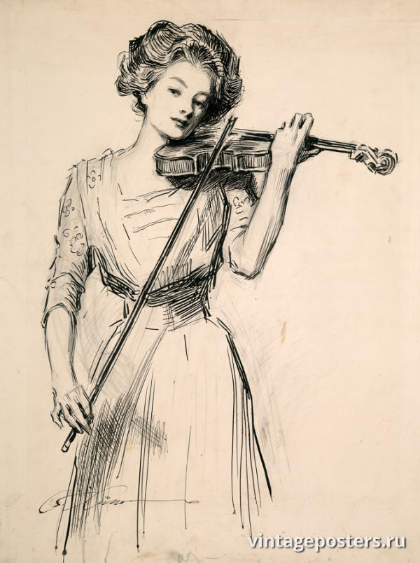 """Винтажный Ретро Постер """"Девушка со скрипкой"""" США 1910 для интерьера купить"""