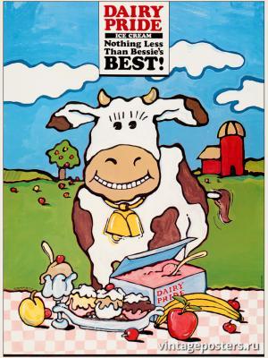"""Винтажный Ретро Постер """"Мороженное «Молочная Гордость»"""" США 1985 для интерьера купить"""